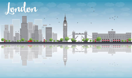 London skyline with skyscrapers and clouds Vector illustration