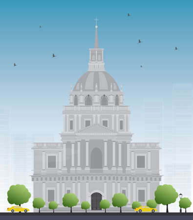 retirement home: Les Invalides hospital and chapel dome. As well as a hospital and a retirement home for war veterans since 1678. Vector illustration