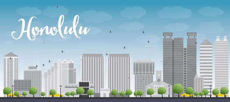 grey sky: Honolulu Hawaii skyline with grey buildings and blue sky. Vector illustration