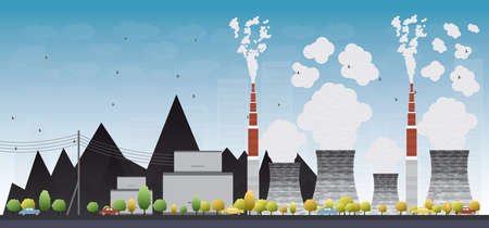 environmen: Coal power plant or factory pipes with smoke. Vector Illustration with yellow tree and blue sky