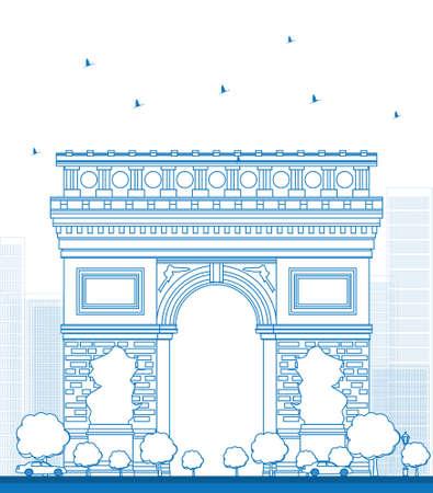 triumph: Outline Arch of Triumph. France Paris. Vector illustration Illustration