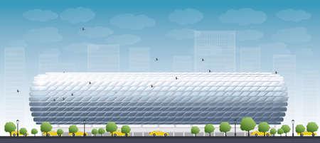 football stadium: Football Stadium and blue sky. Front view. Vector illustration