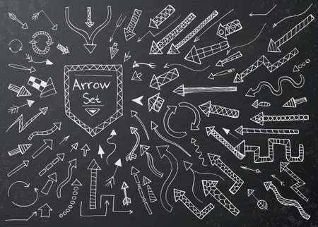 arrow icons: Hand drawn arrow icons set on black chalk board. Vector Illustration