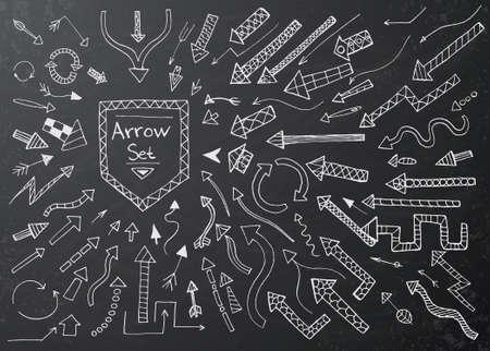 Hand getrokken pijl pictogrammen instellen op zwart krijt bord. Vector Illustratie Stock Illustratie