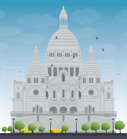 Basilica of the Sacred Heart, Paris, France. Vector illustration Vector