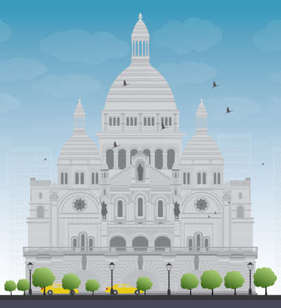 sacred heart: Basilica of the Sacred Heart, Paris, France. Vector illustration Illustration