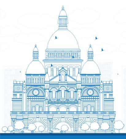 montmartre: Outline Basilica of the Sacred Heart, Paris, France. Vector illustration