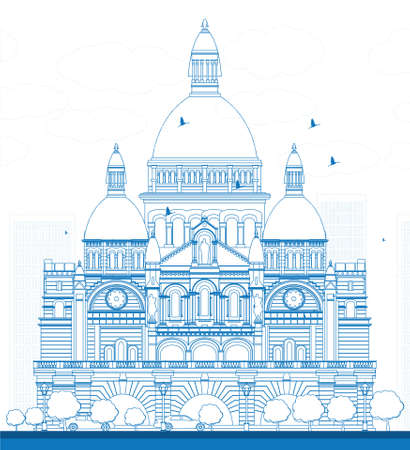 Outline Basilica of the Sacred Heart, Paris, France. Vector illustration