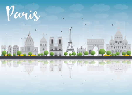 les: Paris skyline with grey landmarks and blue sky. Vector illustration