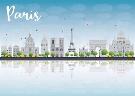 grey sky: Paris skyline with grey landmarks and blue sky. Vector illustration