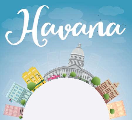 havana: Havana Skyline with Color Building, Blue Sky and copy space. Vector Illustration
