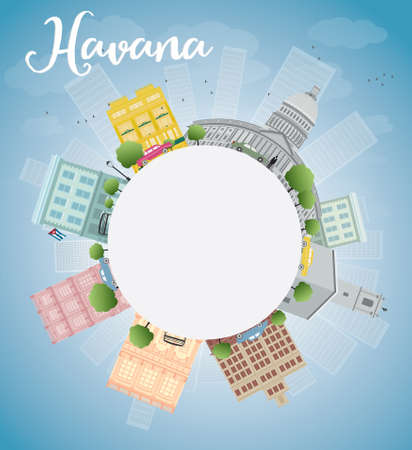 havana cuba: Havana Skyline with Color Building, Blue Sky and copy space. Vector Illustration