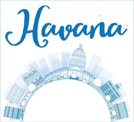 havana: Havana Skyline with Blue Building and copy space. Vector Illustration