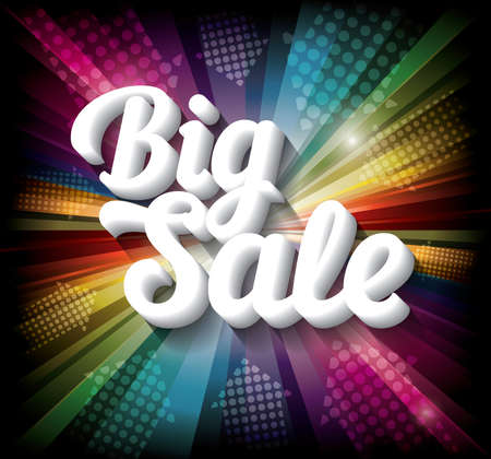 Big Sale banner on rainbow background. Vector illustration Vector