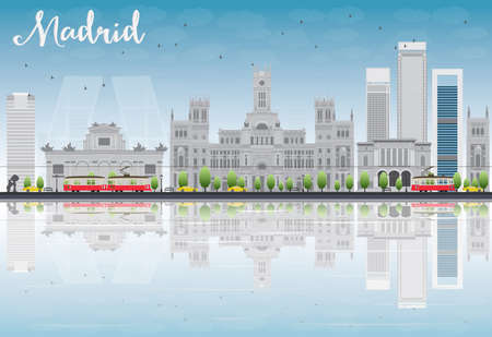 grey sky: Madrid Skyline with grey buildings, blue sky and reflections. Vector illustration