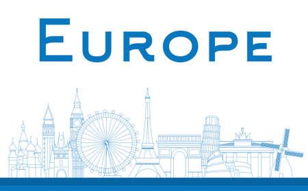 Famous landmarks in Europe. Outline Vector illustration Vettoriali