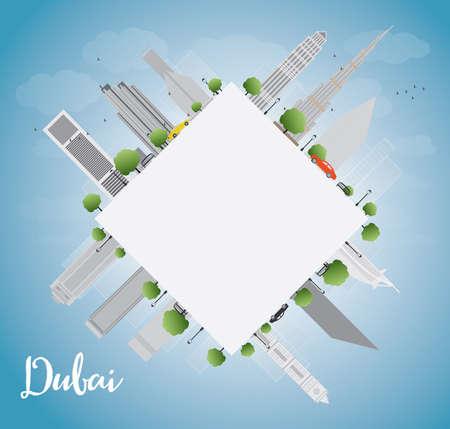 copy: Dubai City skyline with grey skyscrapers, blue sky and copy space. Vector illustration
