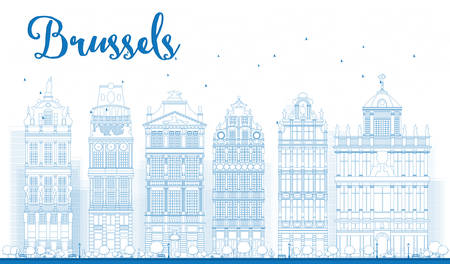 Outline Brussels skyline with Ornate buildings of Grand Place. Vector illustration