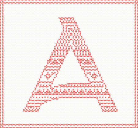 darning: Red knitted Letter A with ornament on beige Background. Vector illustration