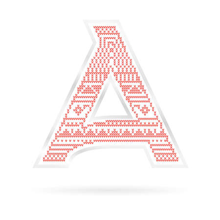 Label with Red knitted Letter A. Vector illustration Illustration