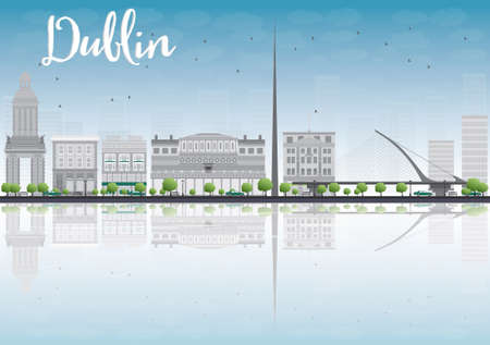 irish cities: Dublin Skyline with Grey Buildings and Blue Sky, Ireland. Vector Illustration