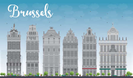 brussels: Brussels skyline with Ornate buildings of Grand Place. Vector illustration