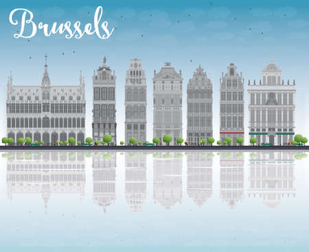 reflections: Brussels skyline with Ornate buildings of Grand Place and reflections. Vector illustration Illustration