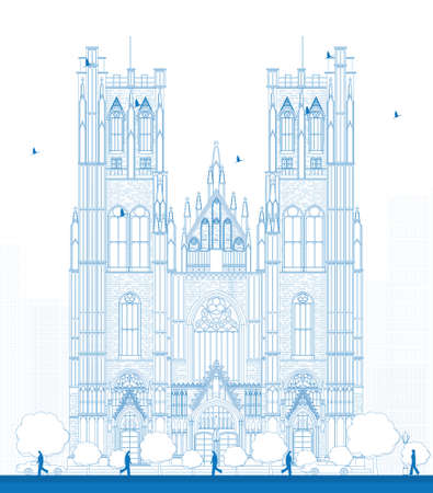 abbey: Outline building of the Cathedral of St Michael and St Gudula in the center of Brussels, Belgium. Vector illustration Illustration