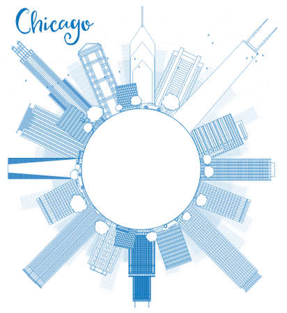 シカゴ都市スカイライン ブルー高層ビルの概要を説明し、空間をコピーします。ベクトル図  イラスト・ベクター素材