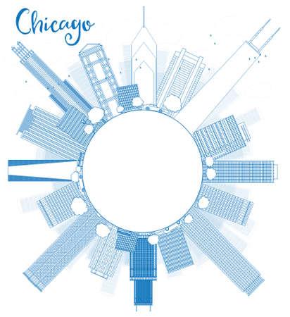 파란색 고층 빌딩 및 복사 공간 시카고 도시의 스카이 라인 개요. 벡터 일러스트 레이 션