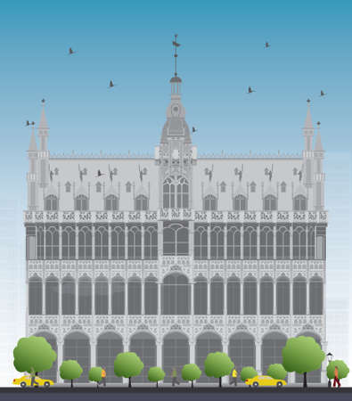 market place: Building Maison du Roi (Kings House, 1887) on Grand Place square (Grote Markt). Brussels, Belgium. Now this building houses Museum of the City of Brussels (Museum van de Stad Brussel). Vector illustration Illustration