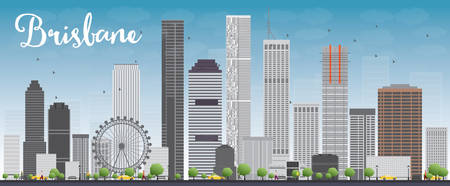 queensland: Brisbane skyline with grey building and blue sky. Vector illustration