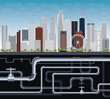 canalization: Imaginary Big City with Skyscrapers, Blue Sky, Trees and Tubes. Vector Illustration