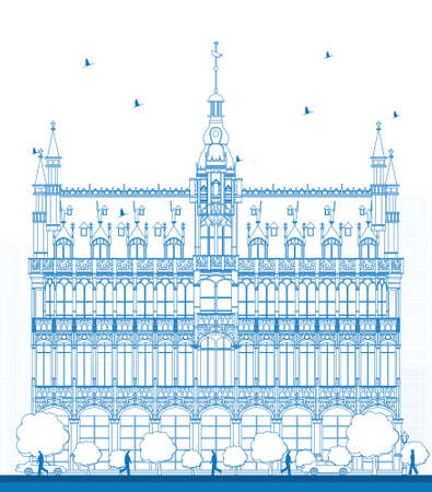 Outline Building Maison du Roi (Kings House, 1887) on Grand Place square (Grote Markt). Brussels, Belgium. Now this building houses Museum of the City of Brussels (Museum van de Stad Brussel). Vector illustration