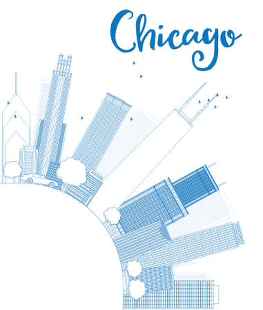 chicago skyline: Outline Chicago city skyline with blue skyscrapers and copy space. Vector illustration
