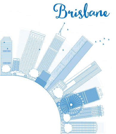 queensland: Outline Brisbane skyline with blue building and copy space. Vector illustration