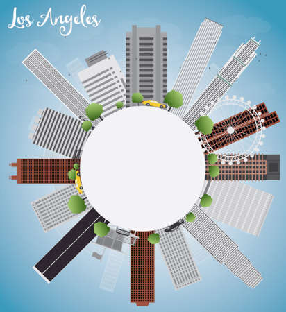angeles: Los Angeles Skyline with Grey Buildings, Blue Sky and copy space. Vector Illustration