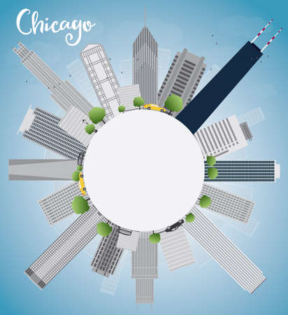 chicago skyline: Chicago city skyline with grey skyscrapers,  blue sky and copy space. Vector illustration Illustration