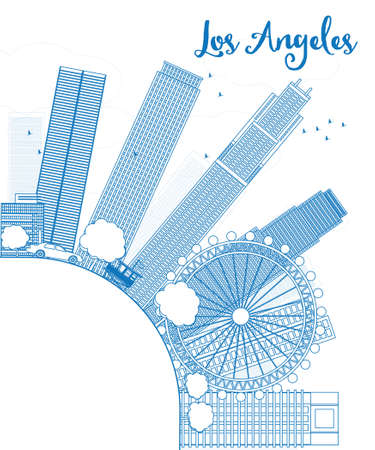 los: Outline Los Angeles Skyline with Blue Buildings and copy space. Vector Illustration