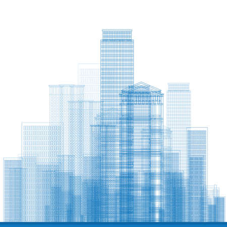 new building: Outline City Skyscrapers in blue color. Vector illustration