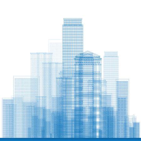 lijntekening: Schetsen Stad Wolkenkrabbers in blauwe kleur. Vector illustratie