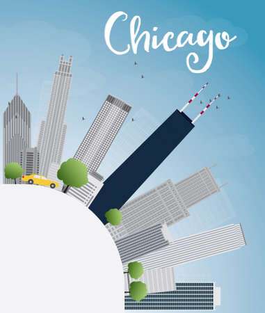 chicago skyline: Chicago city skyline with grey skyscrapers, blue sky and copy space. Vector illustration