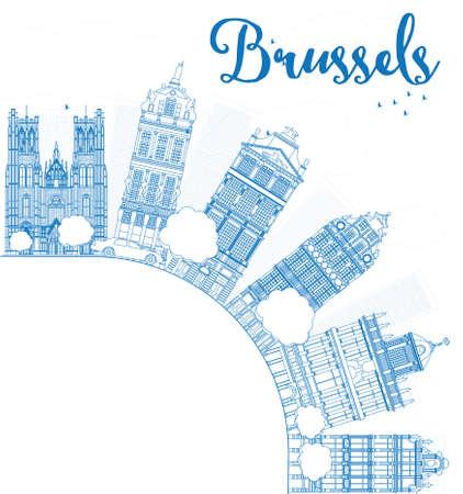 Outline Brusselse skyline met blauwe gebouw en kopie ruimte. Vector illustratie