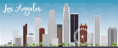 회색 건물과 푸른 하늘 로스 앤젤레스 스카이 라인. 벡터 일러스트 레이 션 스톡 콘텐츠 - 41976158