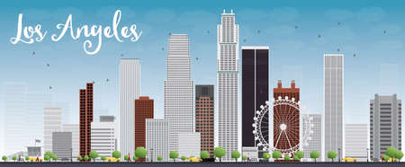 los: Los Angeles Skyline with Grey Buildings and Blue Sky. Vector Illustration