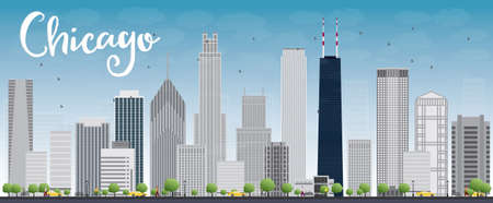 scraper: Chicago city skyline with grey skyscrapers and blue sky. Vector illustration Illustration