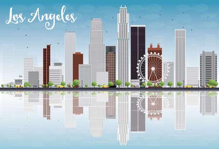 灰色の建物と青空にロサンゼルスのスカイライン。ベクトル図