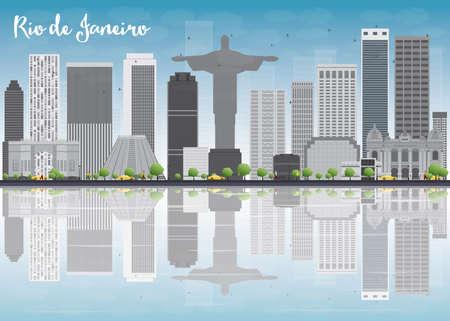 grey sky: Rio de Janeiro skyline with grey buildings and blue sky. Vector illustration