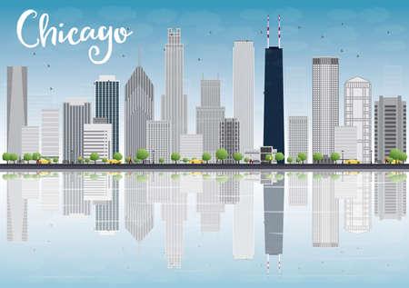 Chicago skyline met grijze wolkenkrabbers en reflecties van de stad. Vector illustratie