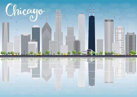 Chicago city skyline with grey skyscrapers and reflections. Vector illustration